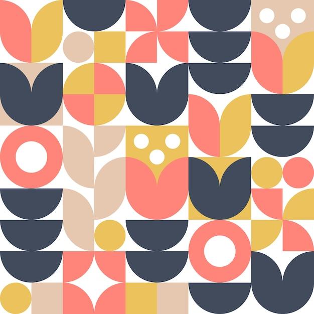 Fundo escandinavo abstrato da flor ou teste padrão sem emenda. desenho geométrico moderno em estilo nórdico retrô. Vetor Premium