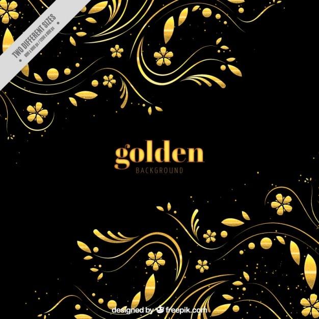 Fundo escuro com decoração floral dourada Vetor grátis