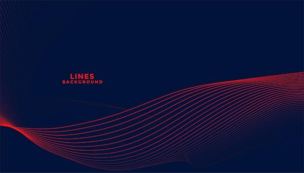 Fundo escuro com design de linhas onduladas fluidas em vermelho Vetor grátis