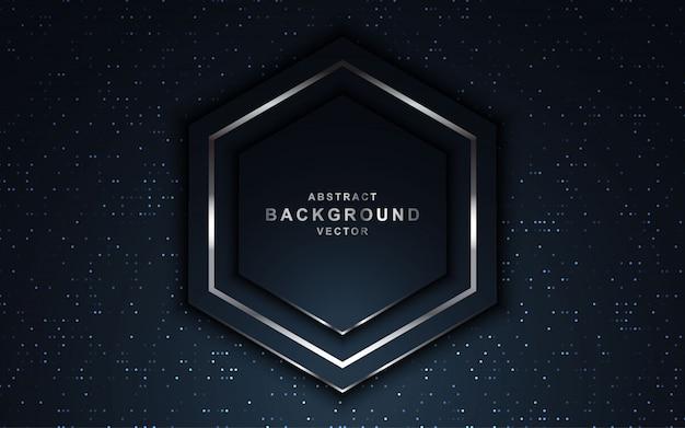 Fundo escuro de luxo com brilhos e forma de hexágono. Vetor Premium