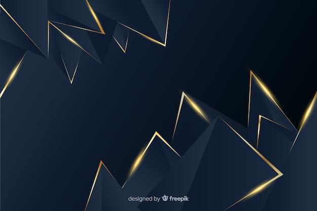 Fundo escuro e dourado poligonal Vetor grátis