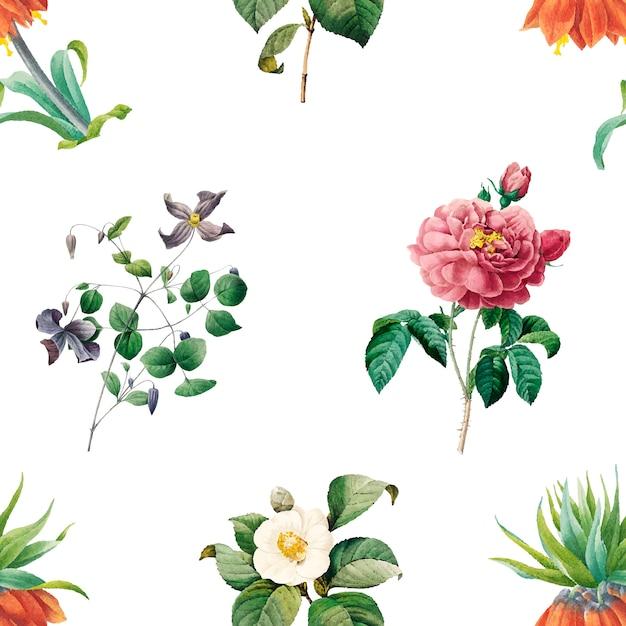 Fundo estampado floral Vetor grátis