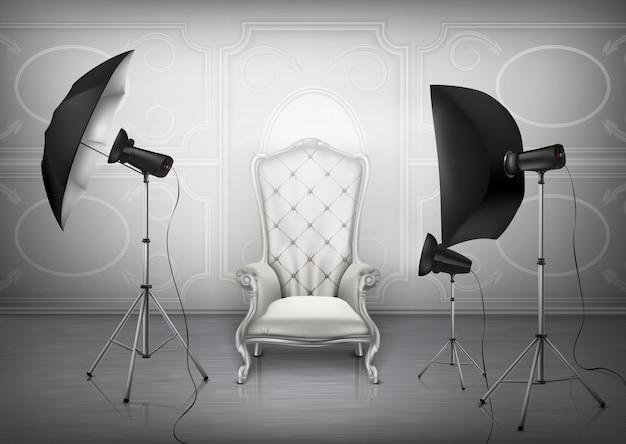 Fundo, estúdio de fotografia com poltrona de luxo vazia e parede com ornamento decorativo Vetor grátis