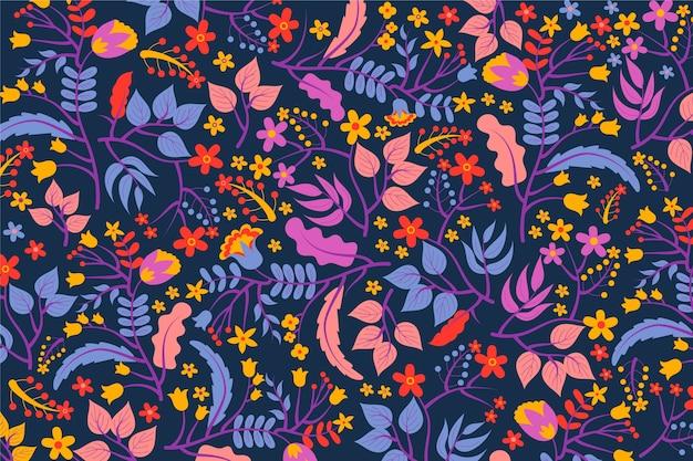 Fundo exótico colorido de flores e folhas Vetor grátis