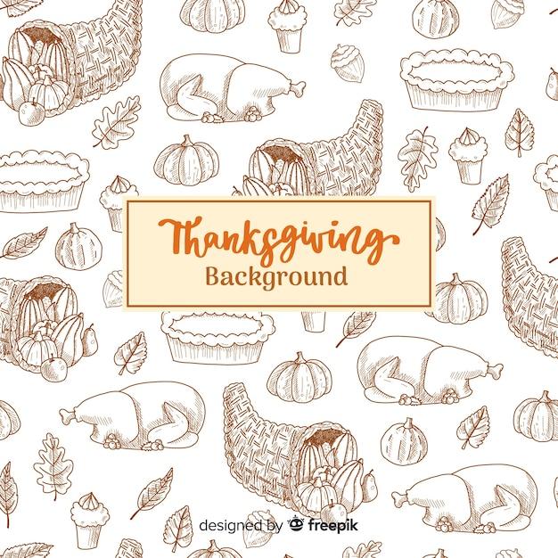 Fundo feliz ação de graças com ilustrações esboçadas Vetor grátis