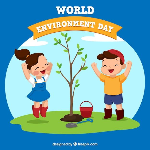 Fundo, feliz, crianças, plantação, árvore Vetor grátis
