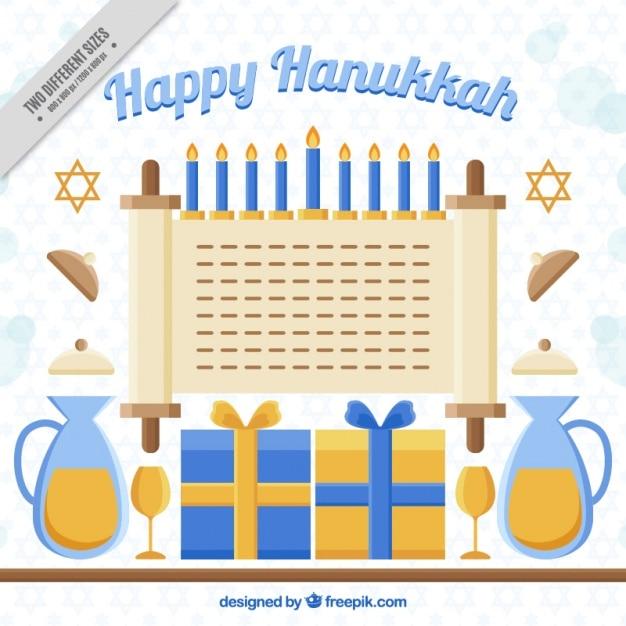 Fundo feliz de hanukkah com elementos decorativos em design plano Vetor grátis