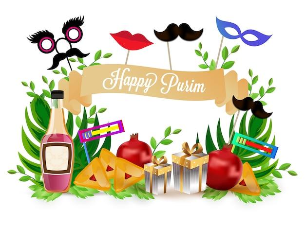 Fundo feliz de purim. Vetor Premium