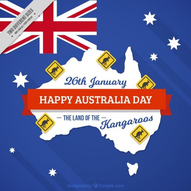 Fundo feliz dia de austrália com sinais de cangurus Vetor grátis