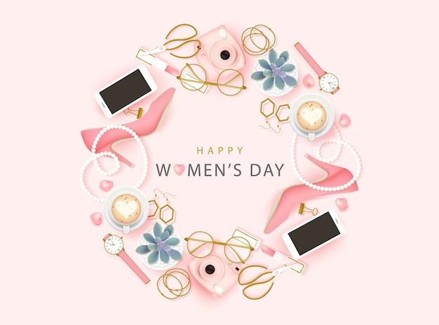 Fundo feliz dia internacional da mulher Vetor Premium