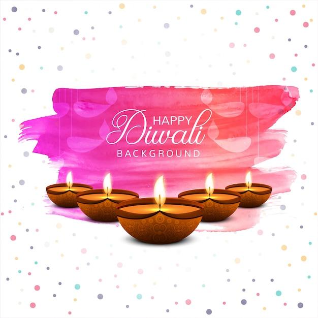 Fundo feliz do cartão colorido do festival da lâmpada de óleo do diya do diwali Vetor grátis
