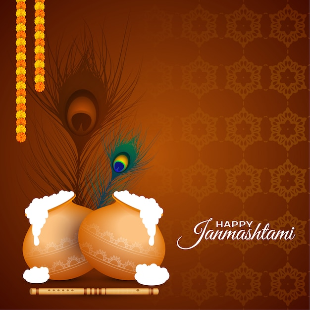Fundo feliz do lindo festival indiano do janmashtami Vetor Premium