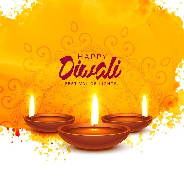 Fundo feliz do vetor do diwali com aguarela alaranjada Vetor Premium