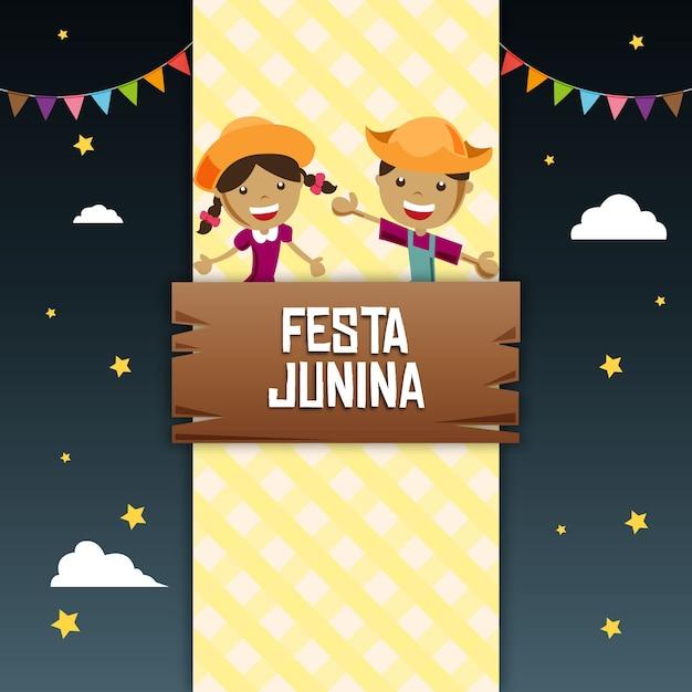 Fundo feliz festa junina Vetor Premium