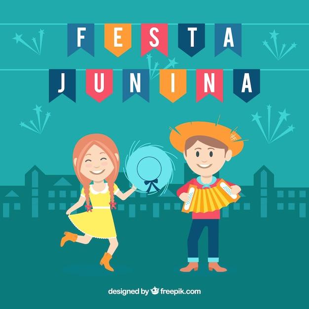 Fundo festa junina com casal feliz Vetor grátis