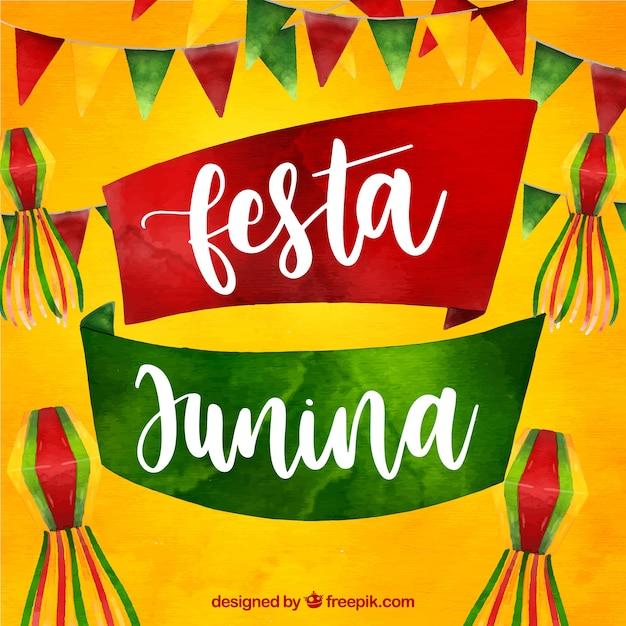Fundo festa junina com elementos em aquarela Vetor grátis