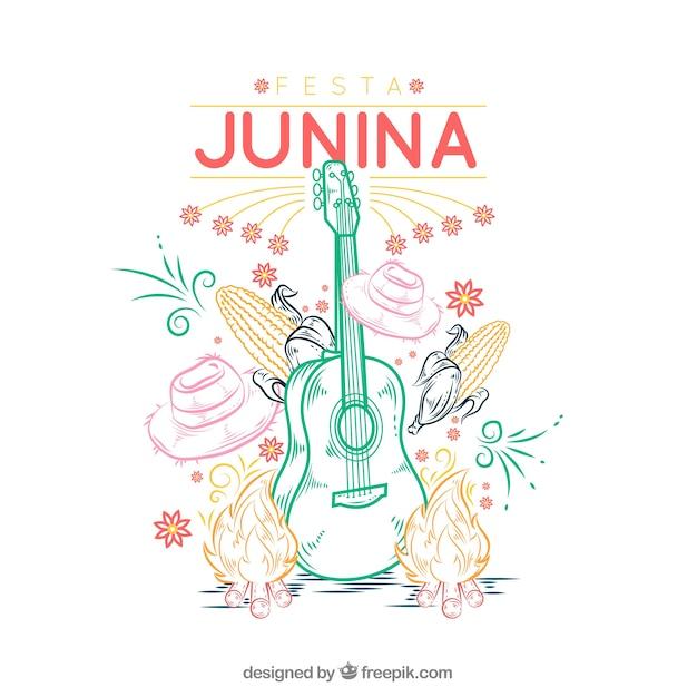 Fundo festa junina com elementos tradicionais Vetor grátis