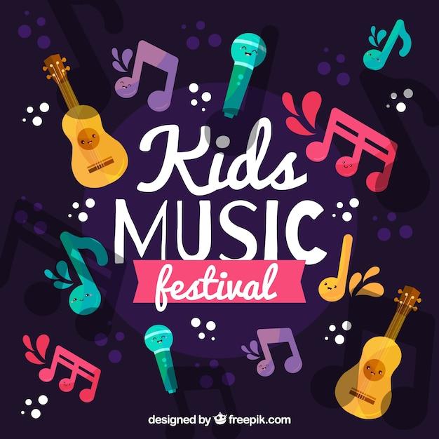 Fundo festival de música com instrumentos diferentes Vetor grátis