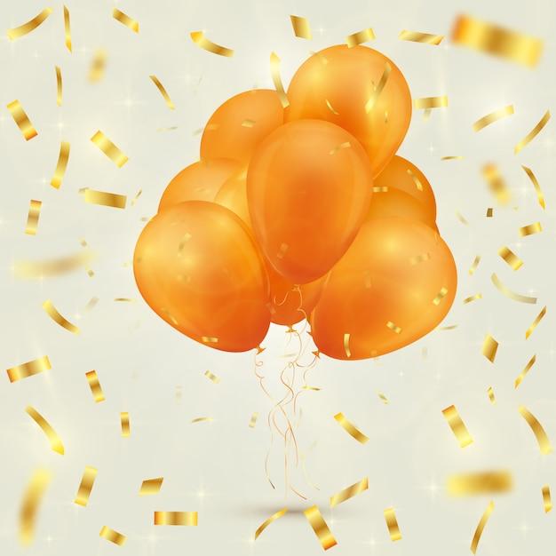 Fundo festivo com balões e confetes Vetor Premium