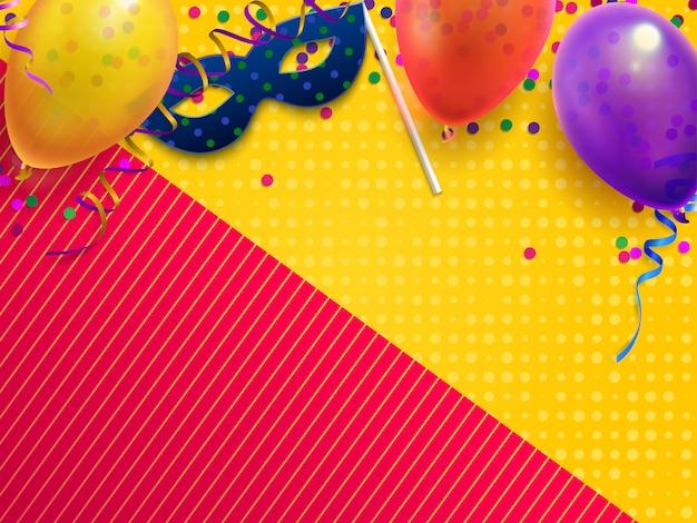 Fundo festivo de carnaval mascarada, festa de aniversário de crianças com confete, máscara de carnaval e balão Vetor Premium