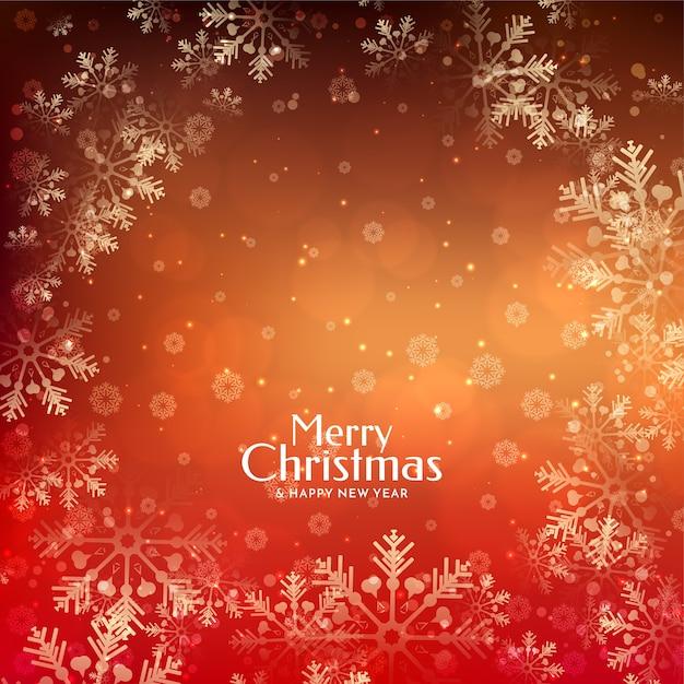 Fundo festivo de feliz natal incrível e elegante com flocos de neve Vetor grátis