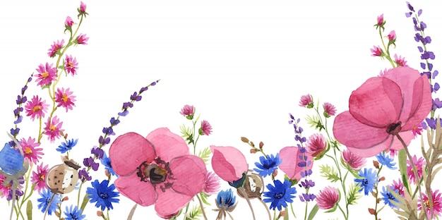 Fundo flor aquarela Vetor Premium