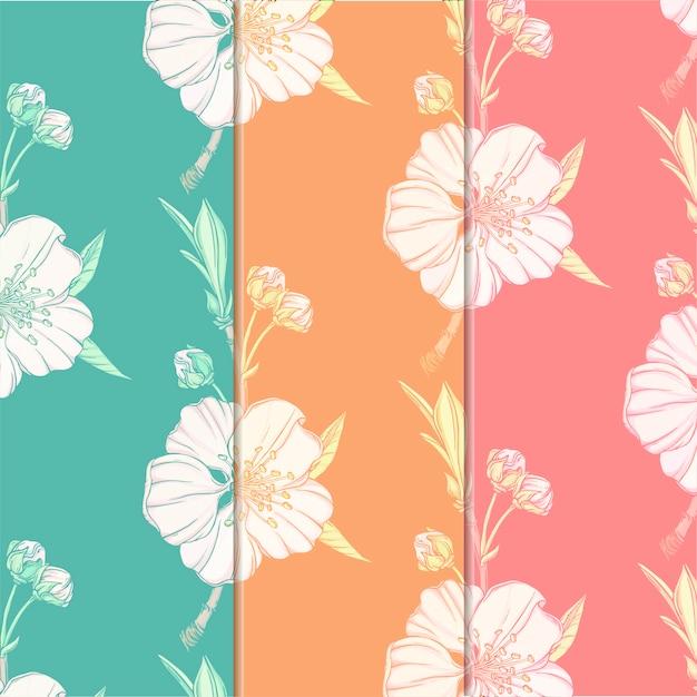 Fundo flor com flores da primavera Vetor Premium