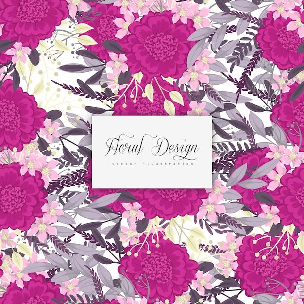 Fundo flor quente rosa flores sem costura padrão Vetor grátis