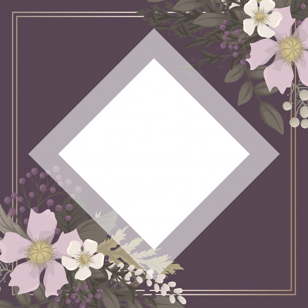 Fundo flor - vermelho, azul claro, grinalda de flores brancas Vetor grátis