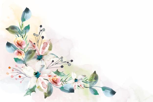 Fundo floral aquarela colorido Vetor Premium