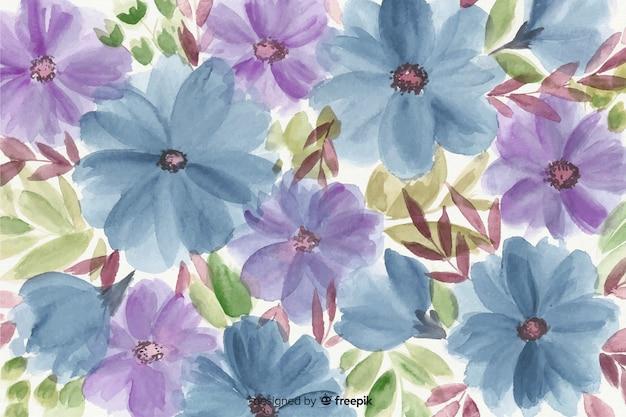 Fundo floral aquarela colorido Vetor grátis