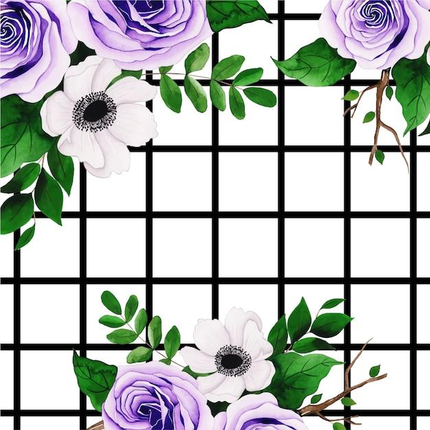 Fundo floral aquarela com listras Vetor Premium