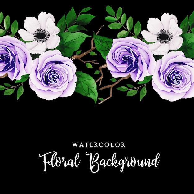 Fundo floral aquarela Vetor Premium