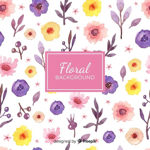 Fundo floral aquarela Vetor grátis