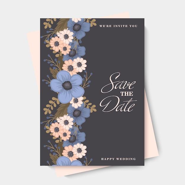 Fundo floral borda - flores azuis Vetor grátis