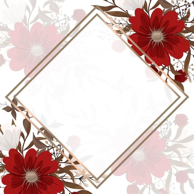 Fundo floral borda - flores vermelhas Vetor grátis