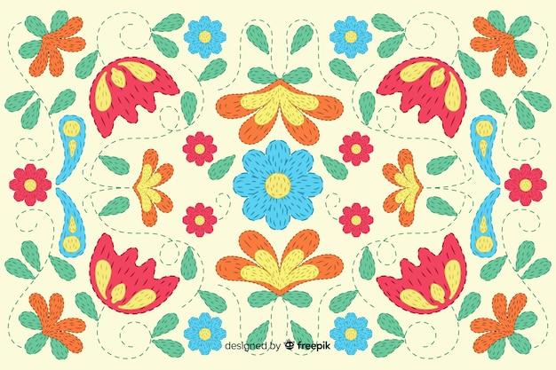 Fundo floral bordado Vetor grátis