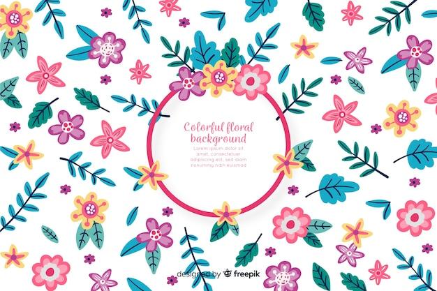 Fundo floral colorido de mão desenhada Vetor grátis