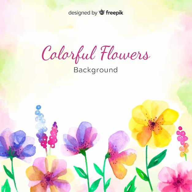 Fundo floral colorido em aquarela Vetor grátis