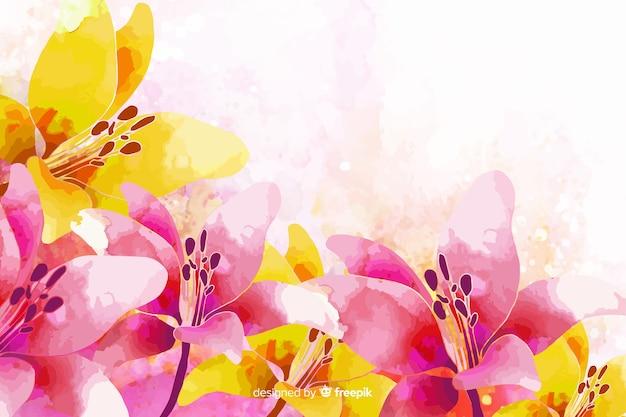 Fundo floral colorido exótico aquarela Vetor grátis