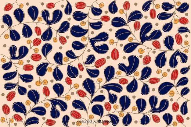 Fundo floral colorido mão desenhada Vetor grátis