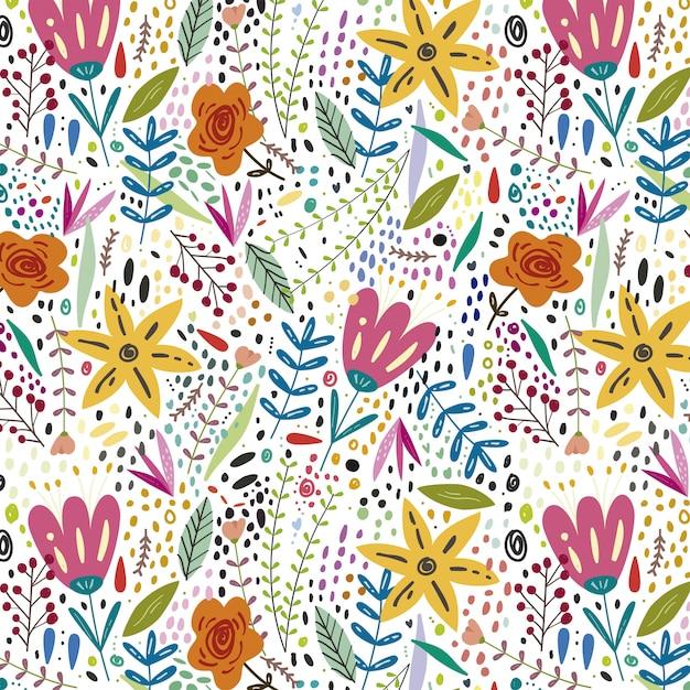 Fundo floral colorido primavera Vetor Premium