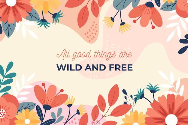 Fundo floral com citações Vetor grátis