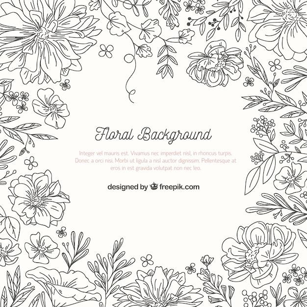 Fundo floral com estilo esboçado Vetor grátis