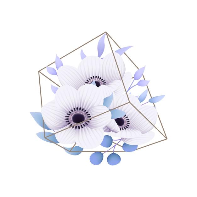 Fundo floral com flores de anêmona no terrário Vetor Premium