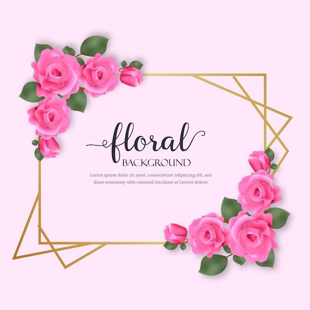 Fundo floral com flores de rosas Vetor Premium