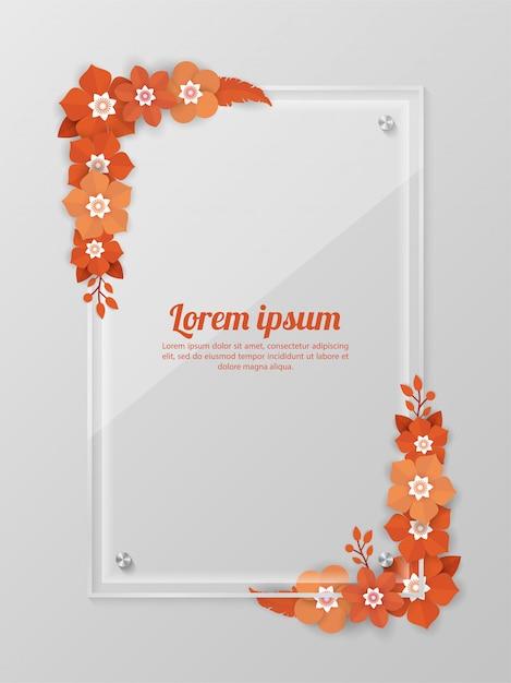 Fundo floral com modelo de moldura de vidro para eventos de compras, férias e saudação, cartões de convite Vetor Premium