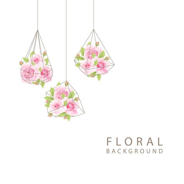 Fundo floral com rosas cor de rosa no terrário Vetor Premium