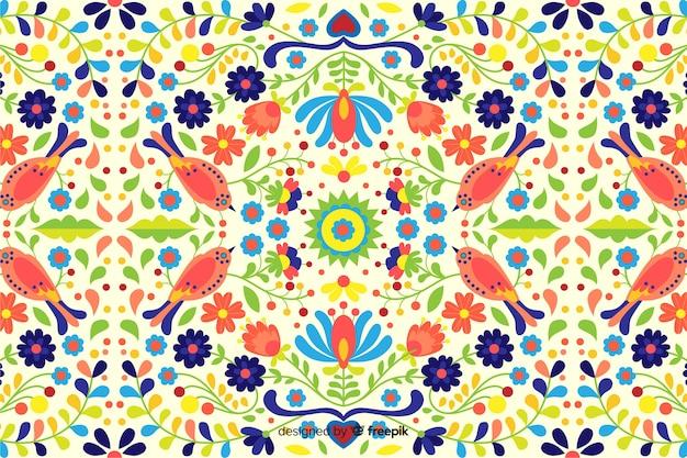 Fundo floral de mão desenhada bordado Vetor grátis
