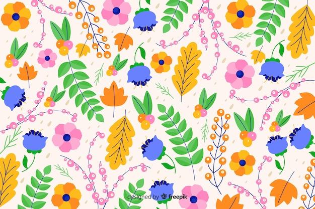 Fundo floral decorativo colorido bonito Vetor grátis